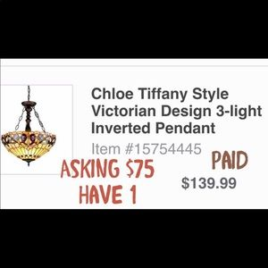 Tiffany style light fixture for sale